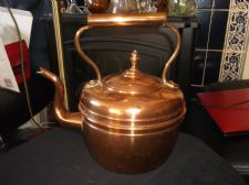 GENUINE OLD VINTAGE COPPER KETTLE & LID SWAN GOOSE NECK SPOUT ACORN KNOB